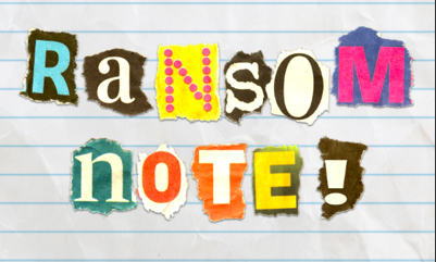 "Torn paper letters on lined paper spelling out ""ransom note!"""