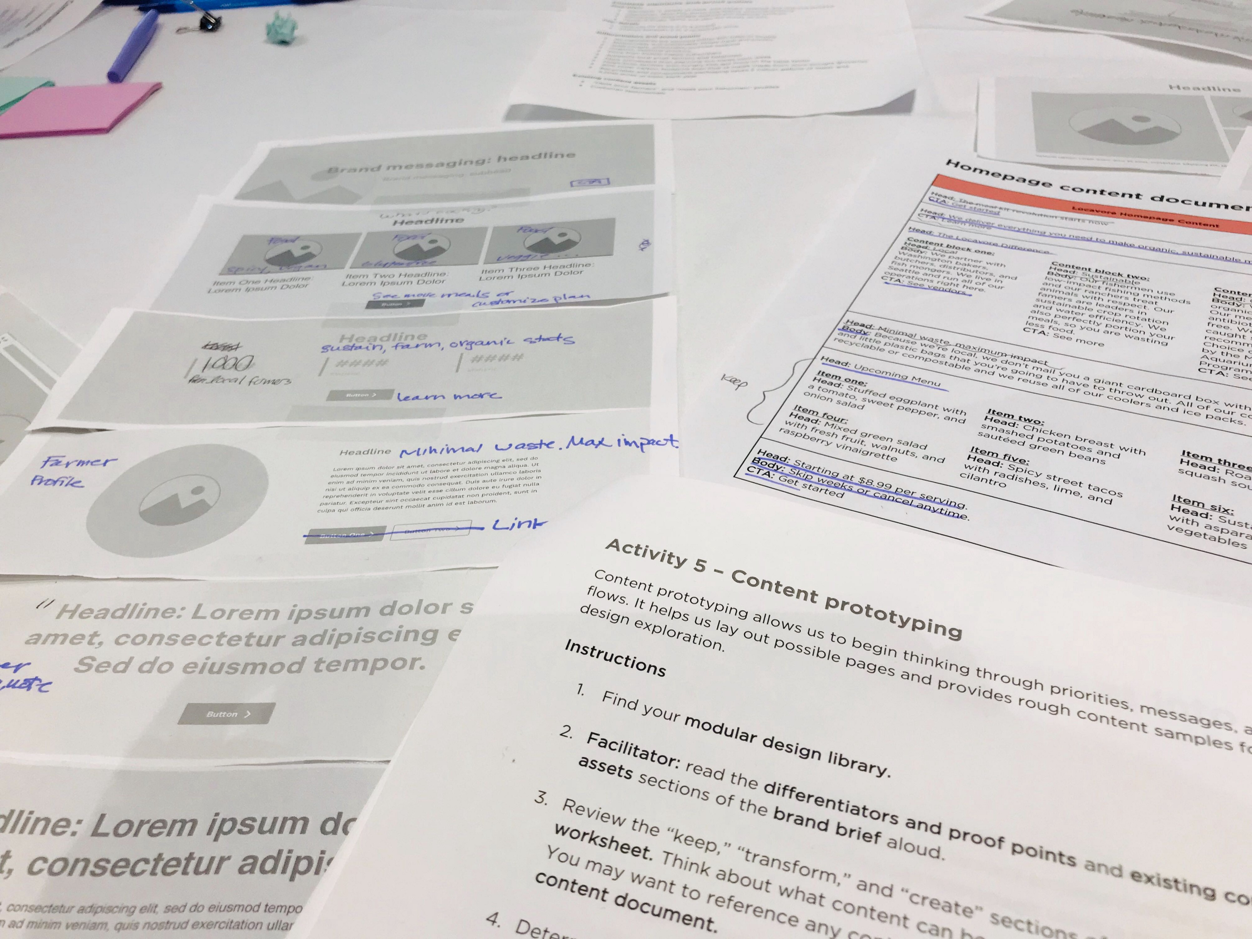 A close-up shot of several workshop documents including content prototyping instructions and a website paper prototype