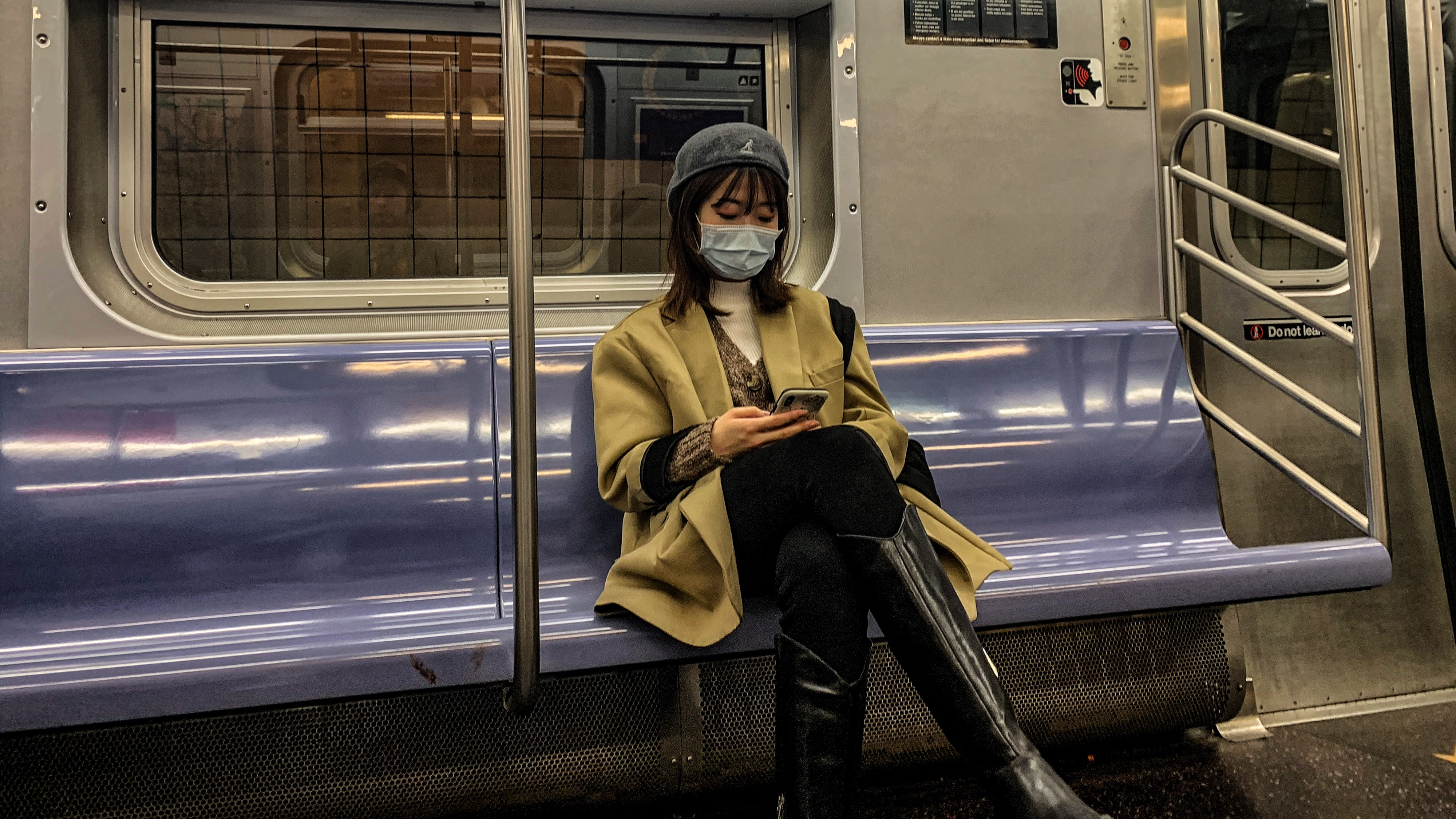 Masked subway rider in NYC, March 3rd, 2020