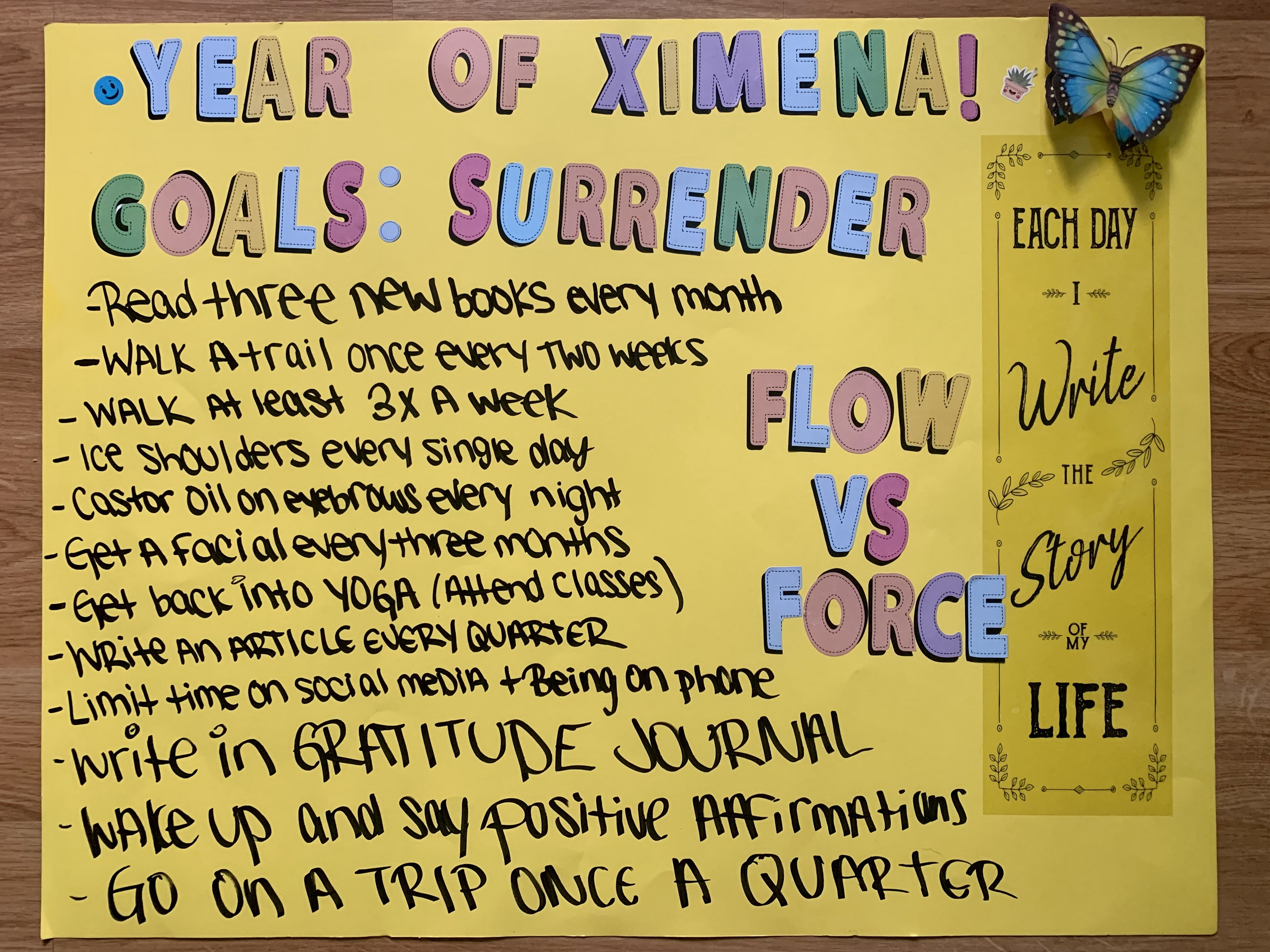 yellow poster board with goals written down