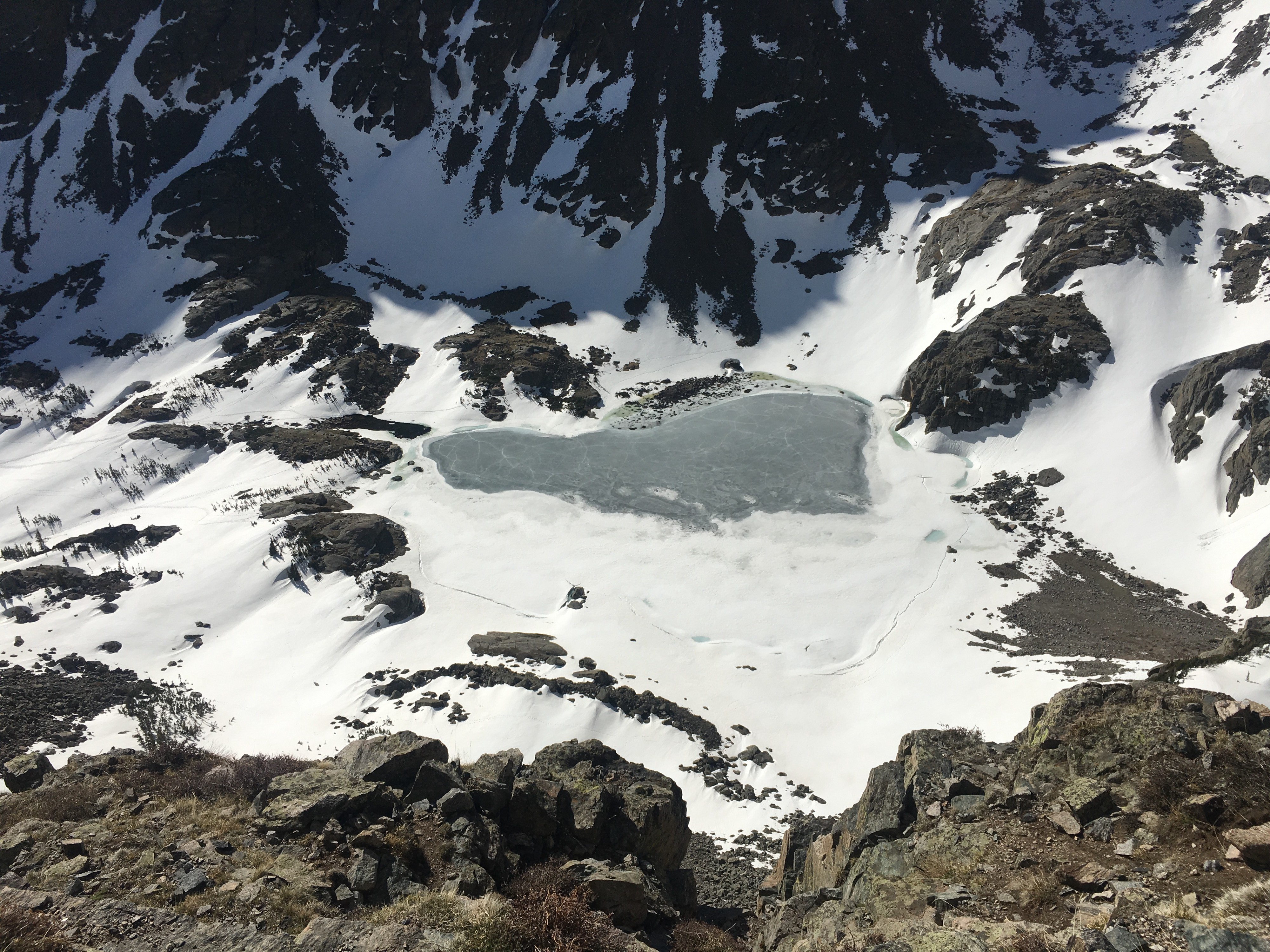 Sky Pond Cirque Rocky Mountain National Park Frozen in June from photographed from the Petit Grepon