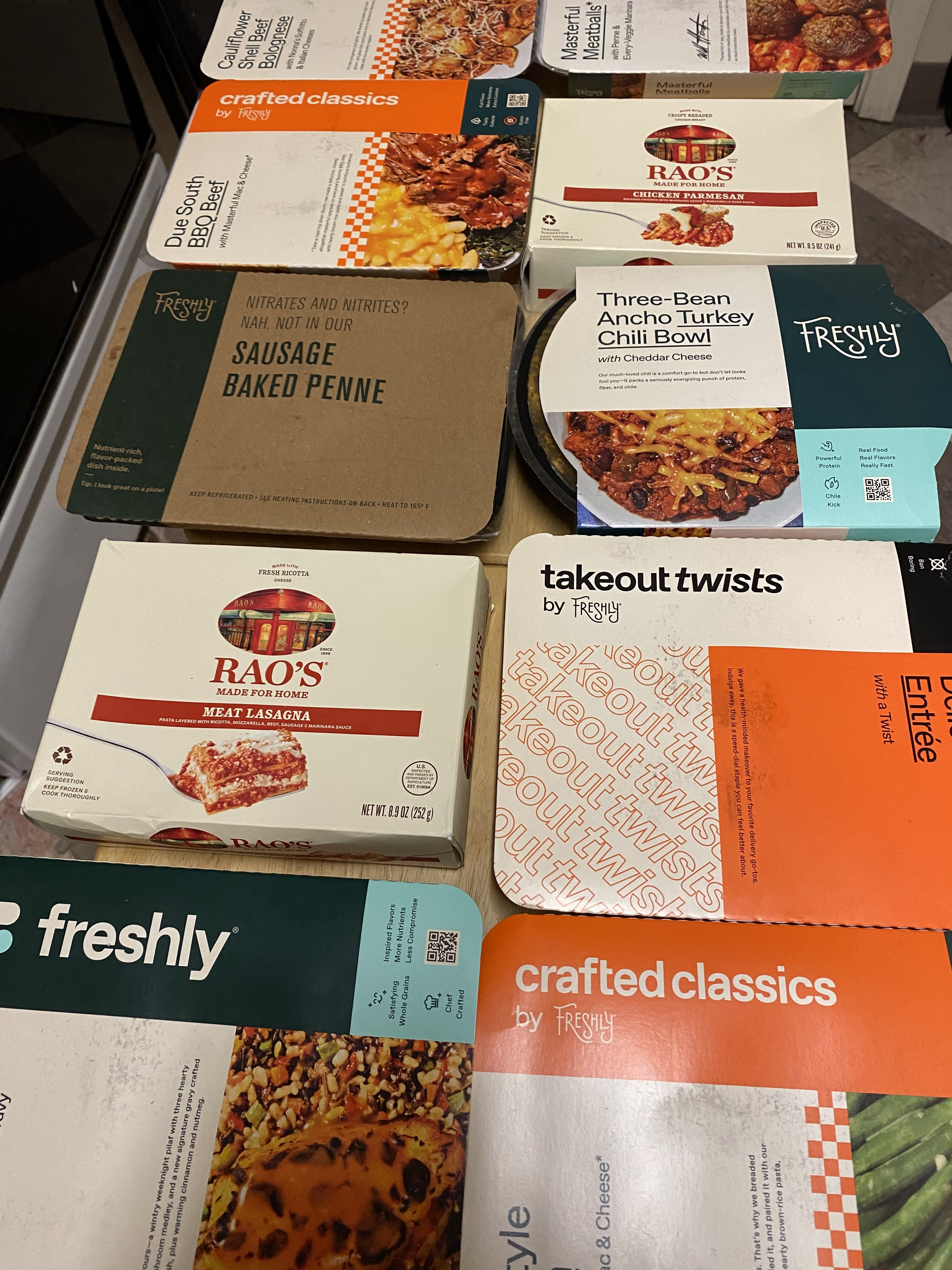 Freshly chef-prepared meals and Rao's Italian dinners