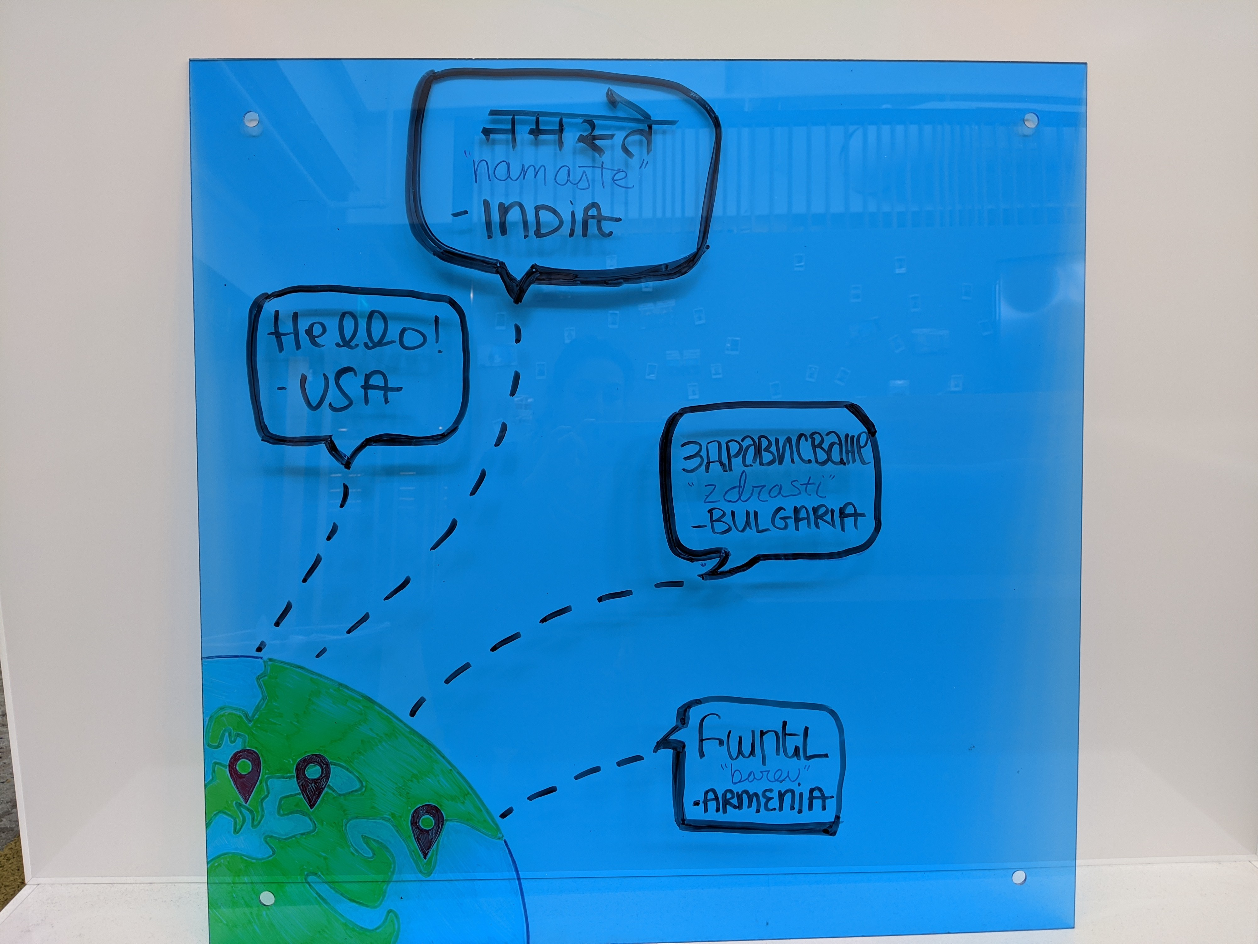 Whiteboard sketch of the locations globally where designers from VMware are located.