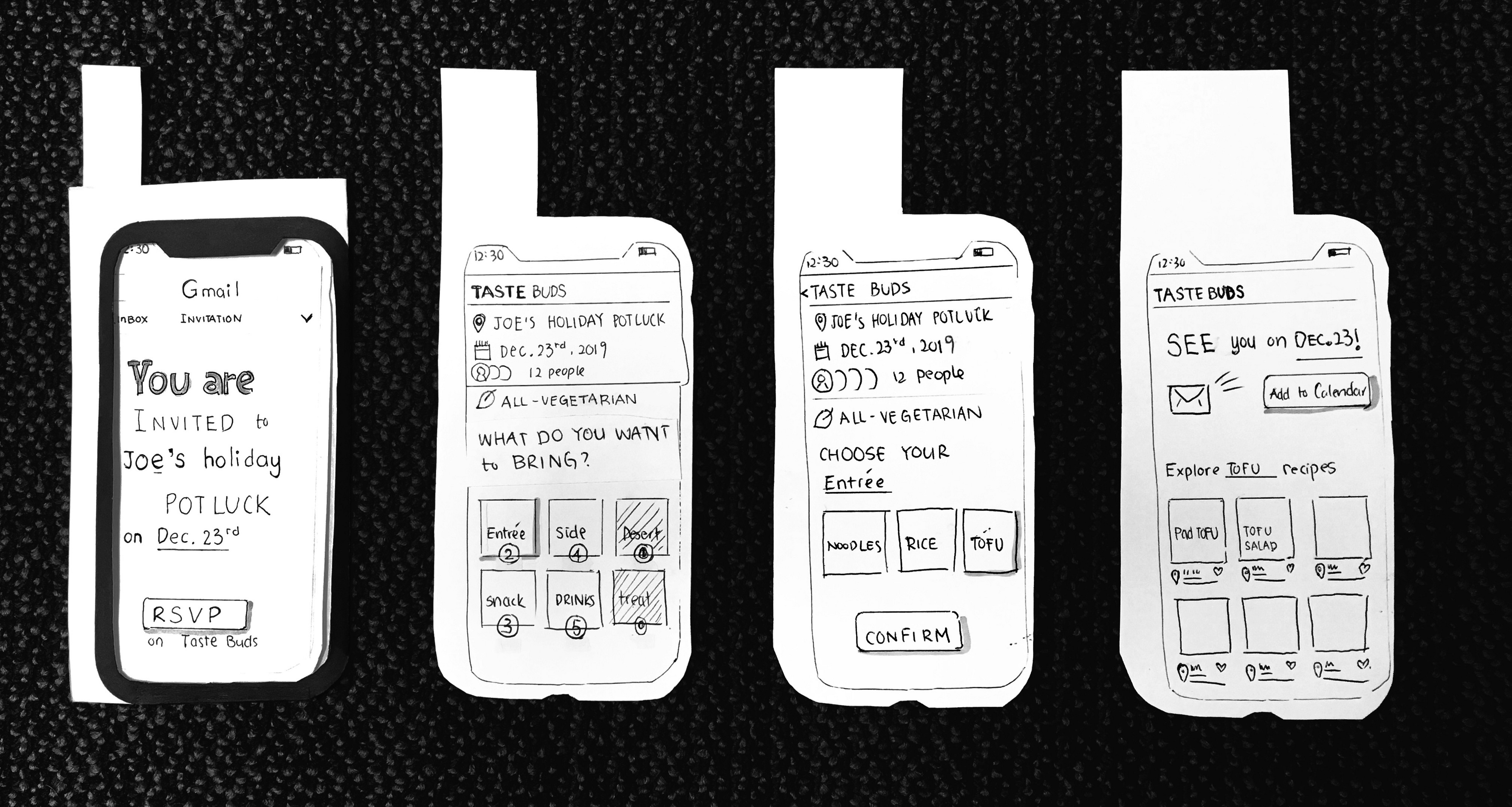 Four app screens have buttons and directions for the tester