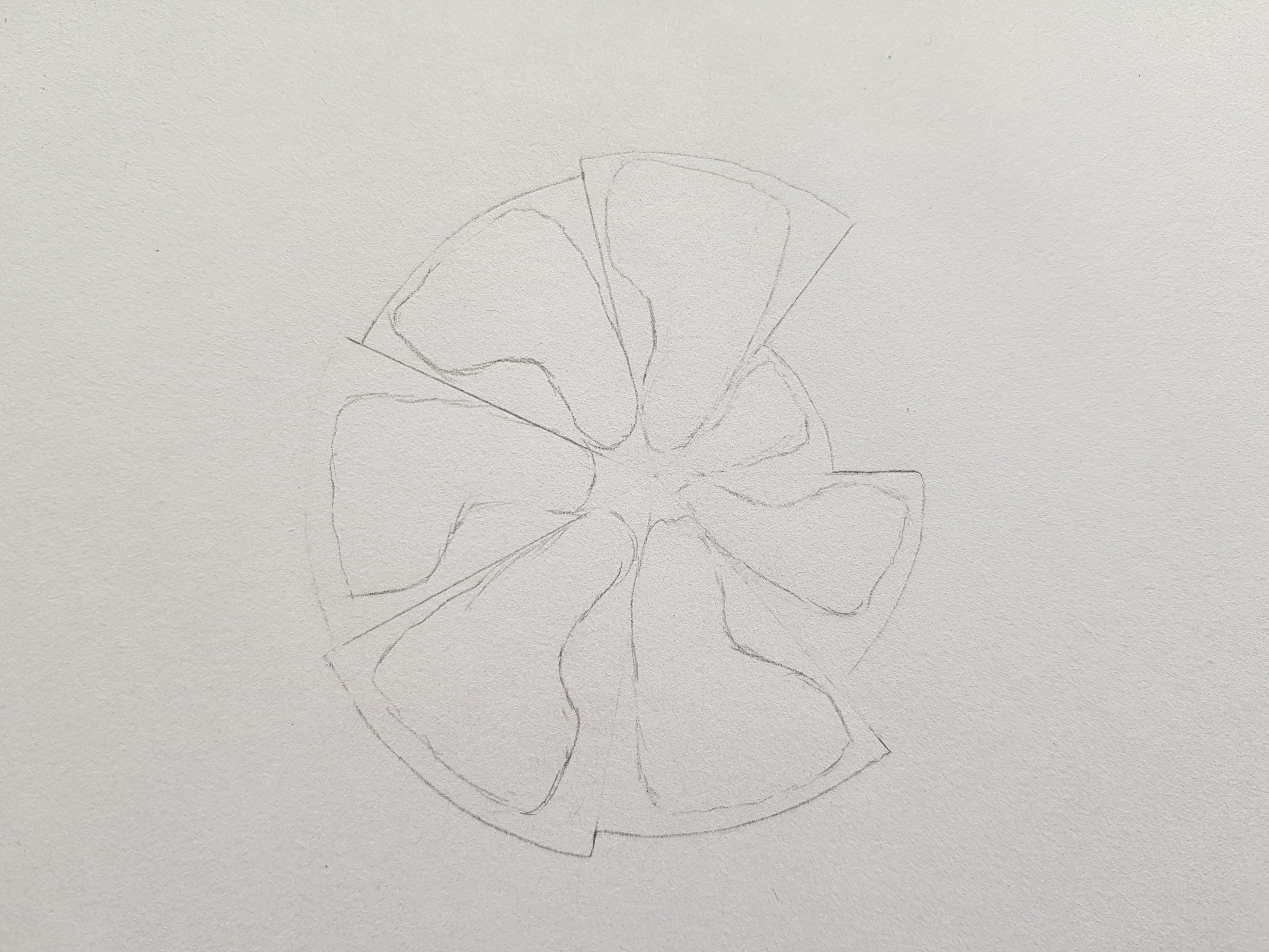 A sketch of a rose/flower design made of different-sized feet