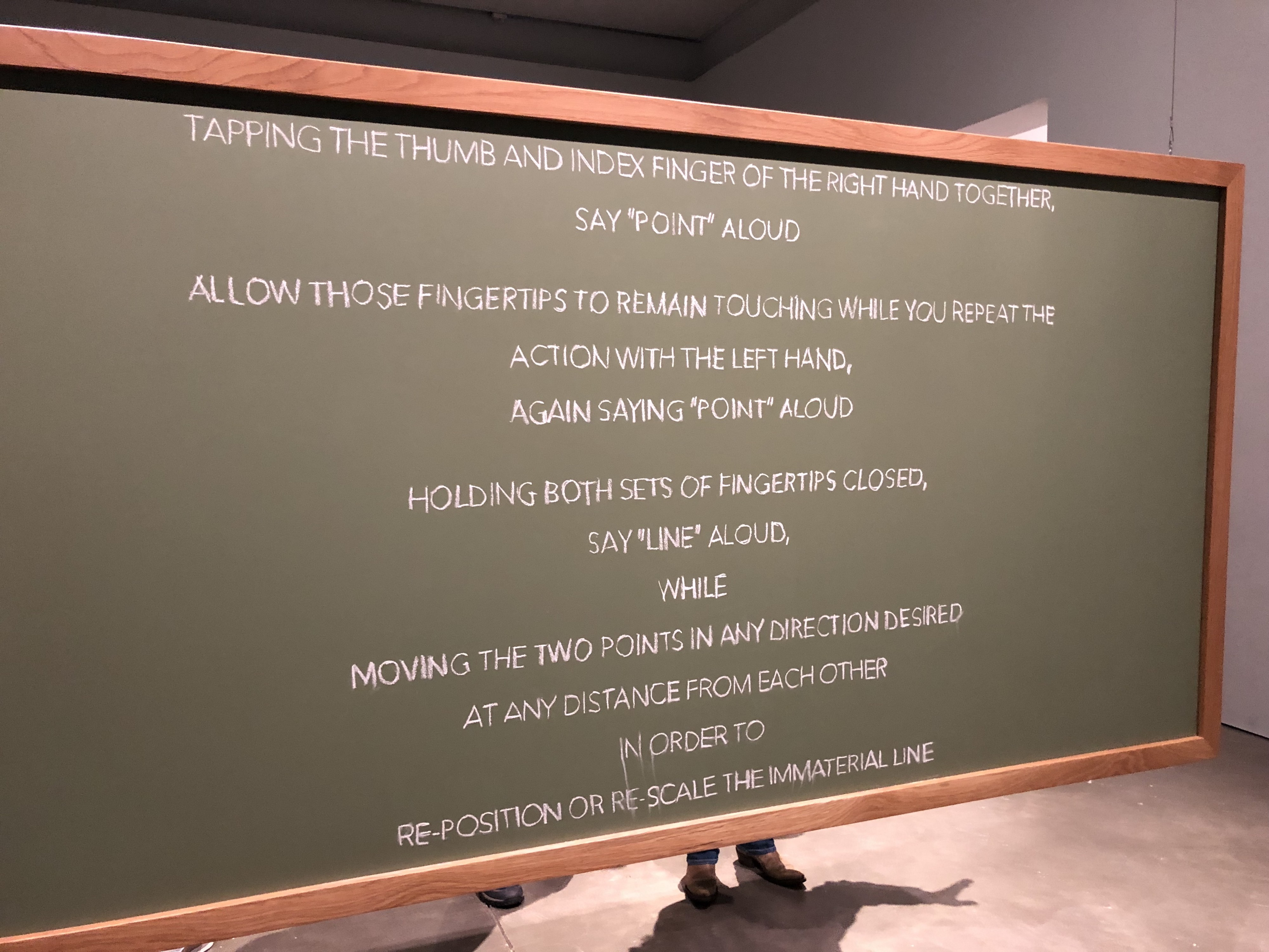 Chalkboard with instructions