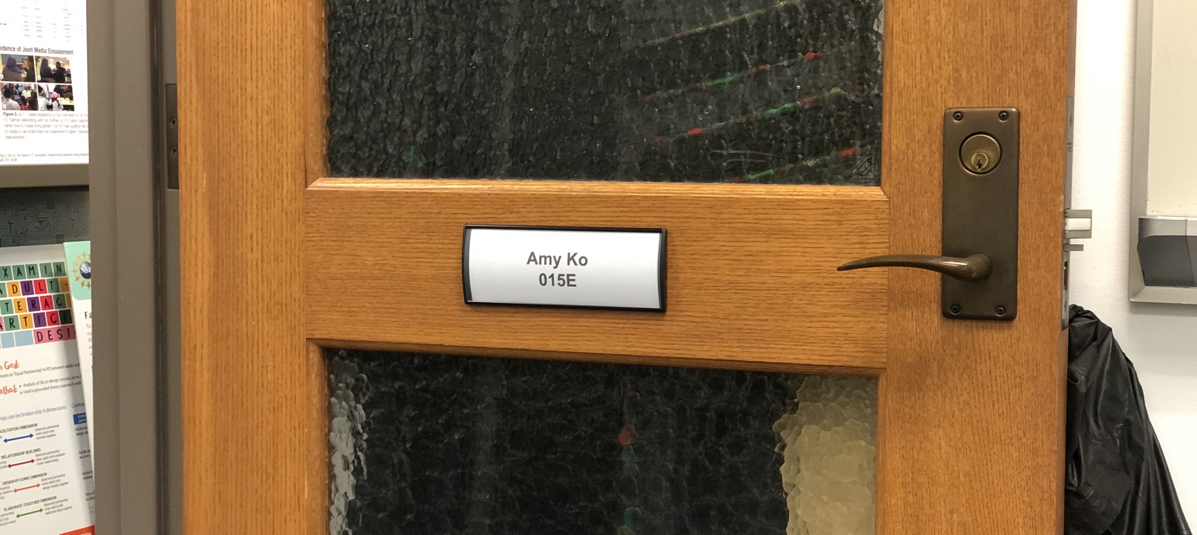 Amy's new name placard on her door.