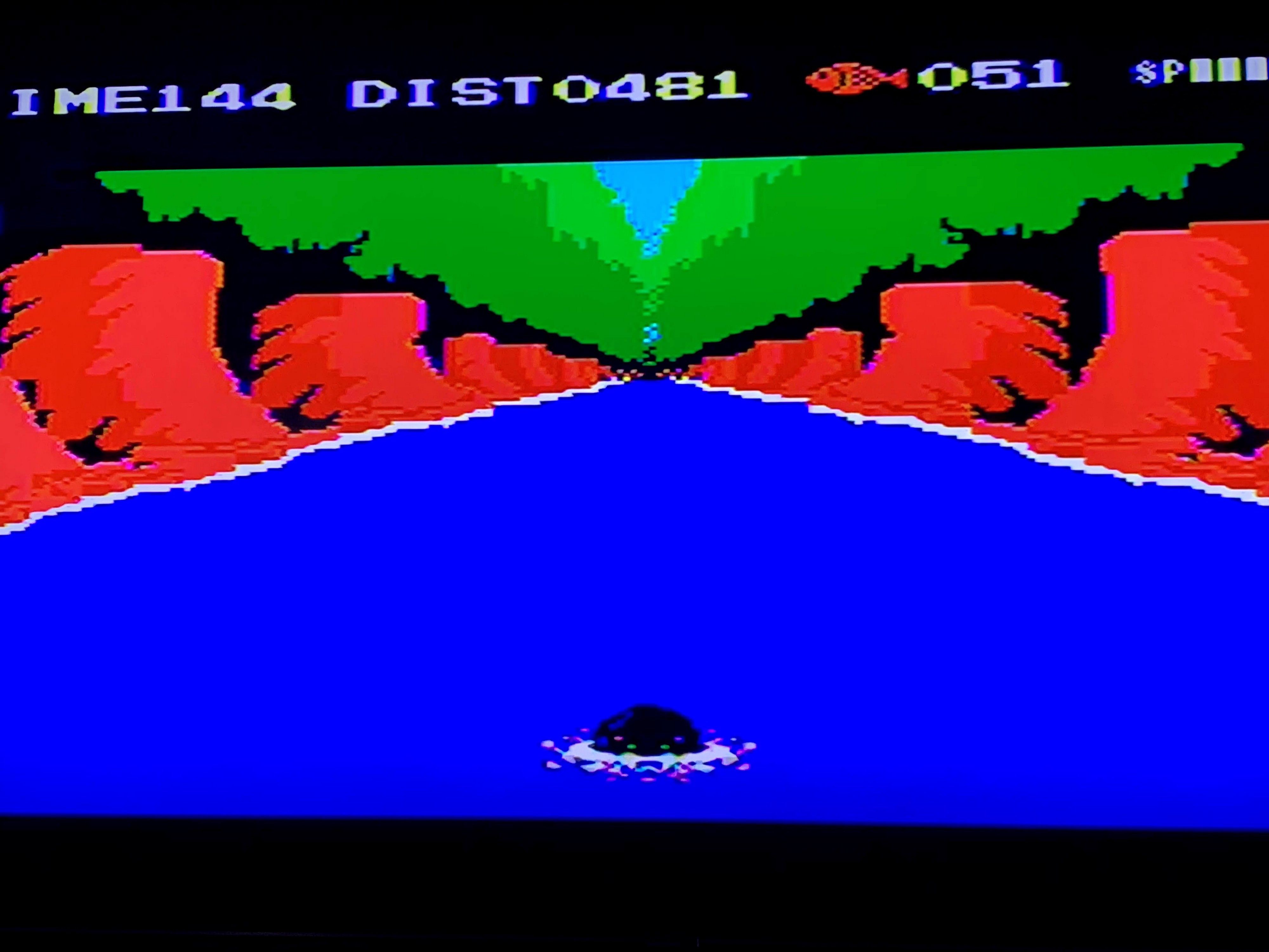 Scene from a scene in the game where the penguin is swimming in what looks like a river in a forest.