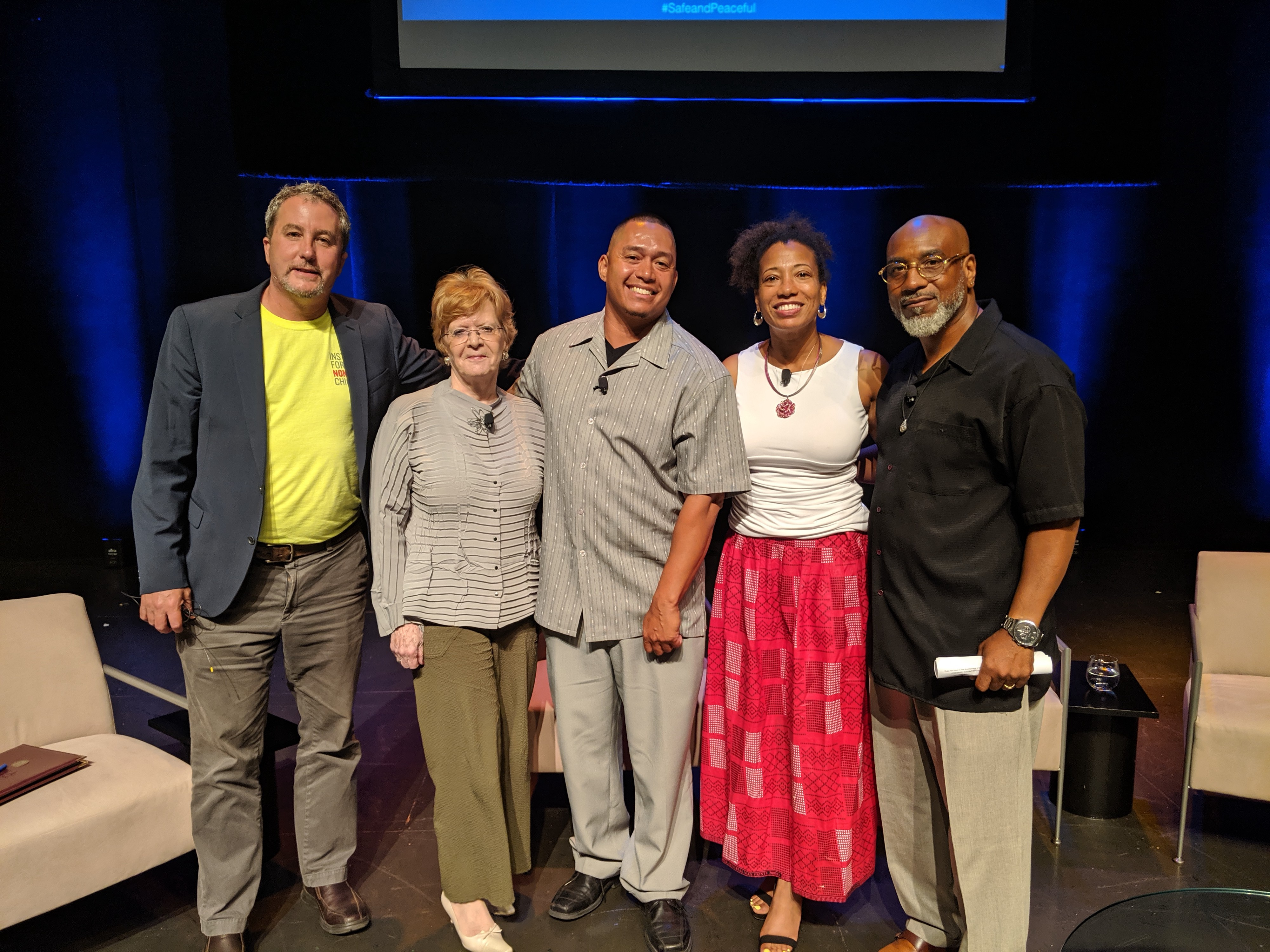 The panelists after the discussion. From left to right: Teny Gross, Julia Stasch, Jorge Matos, Tanya Woods, and Billy Moore.