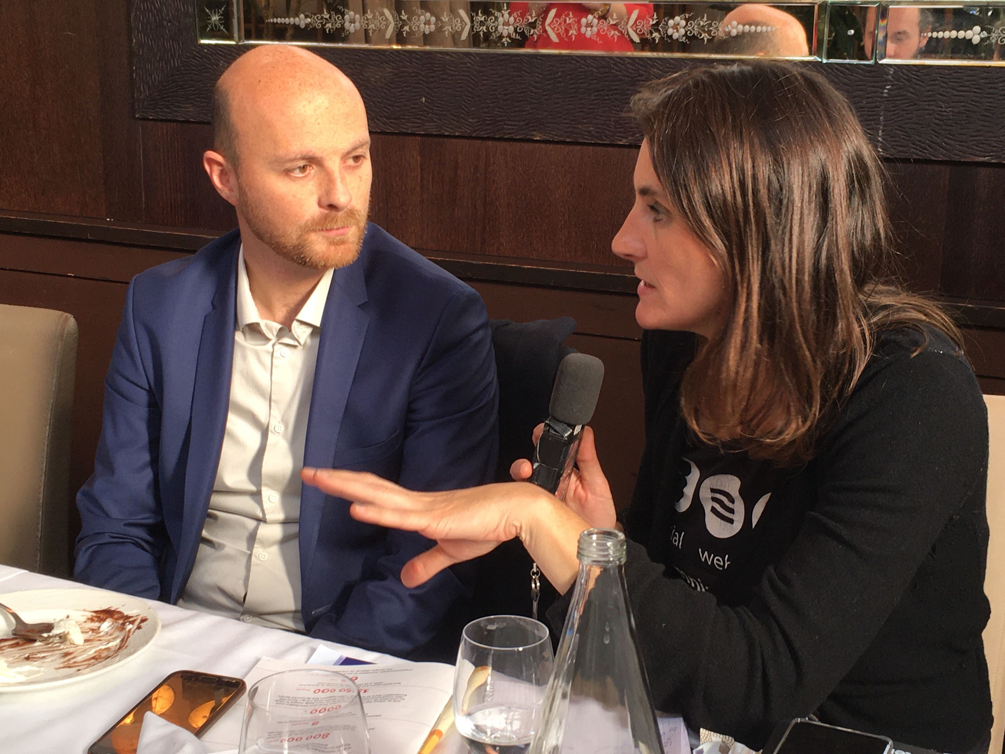 ARK.io CEO FX Thoorens (left) attending a press lunch.