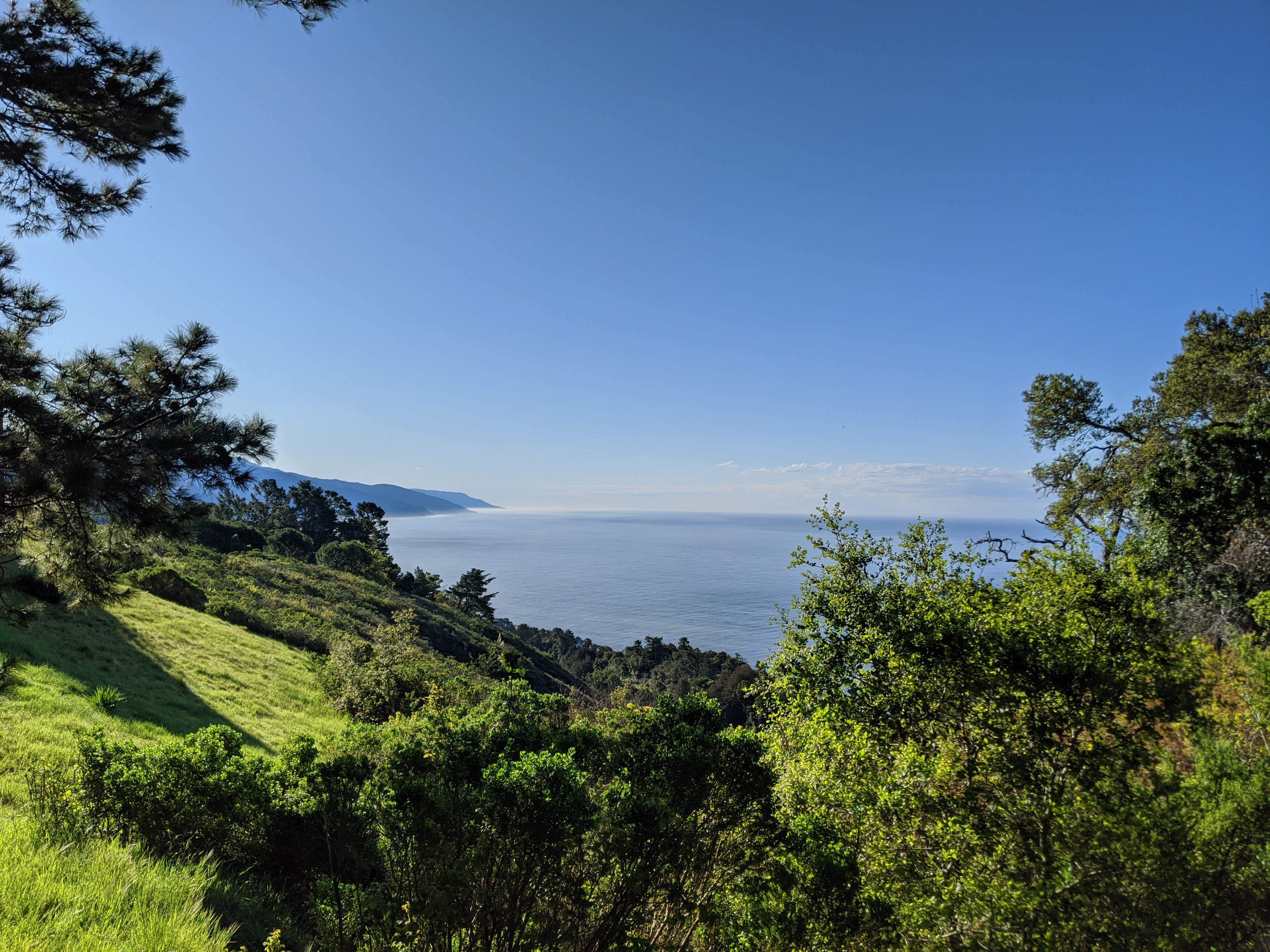 A photo of Big Sur, California, overlooking the Pacific Ocean and a mountain range in the background and a green hillside with trees in the foreground.