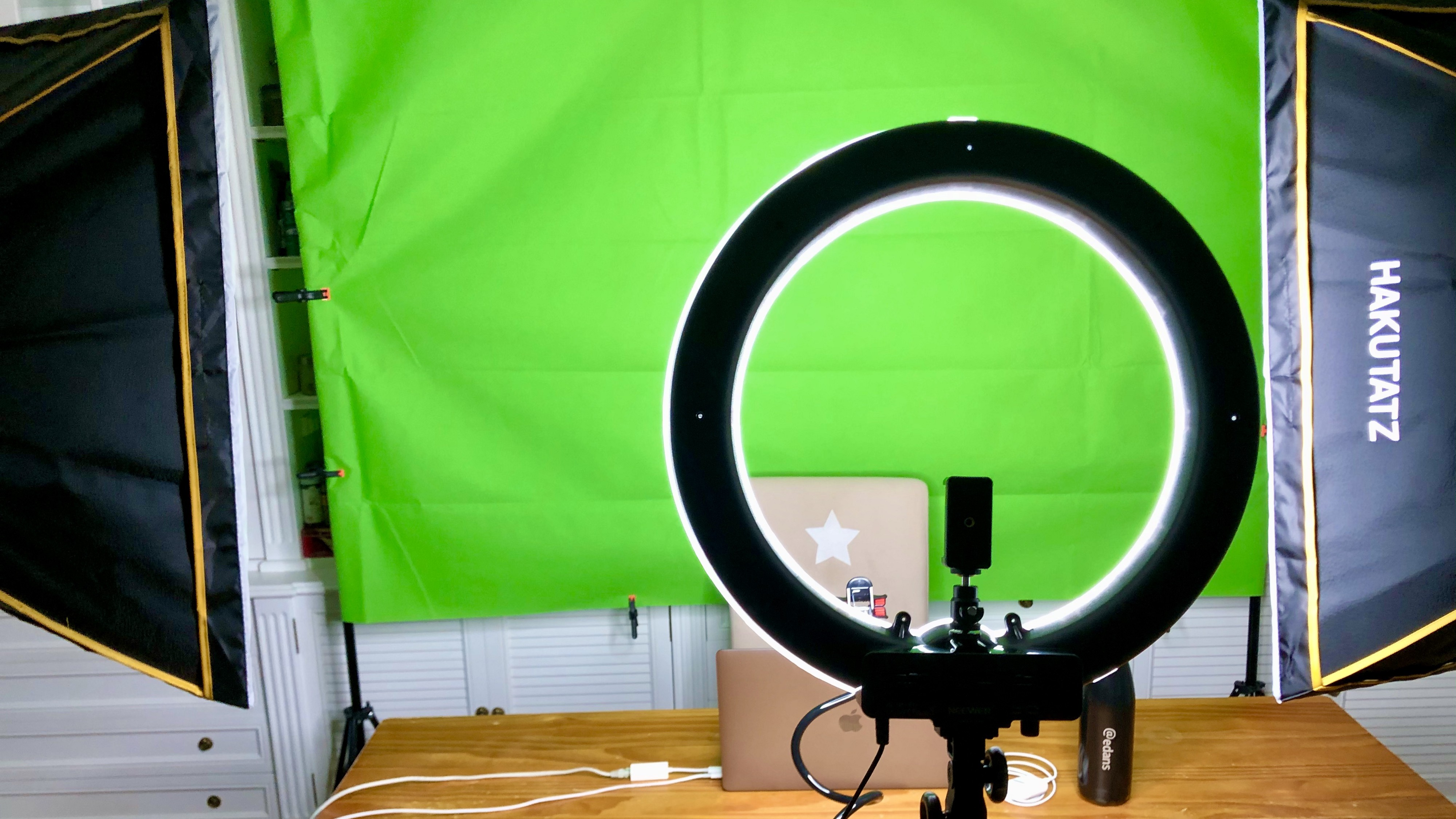 My setup at home for videoconferences, with a green screen