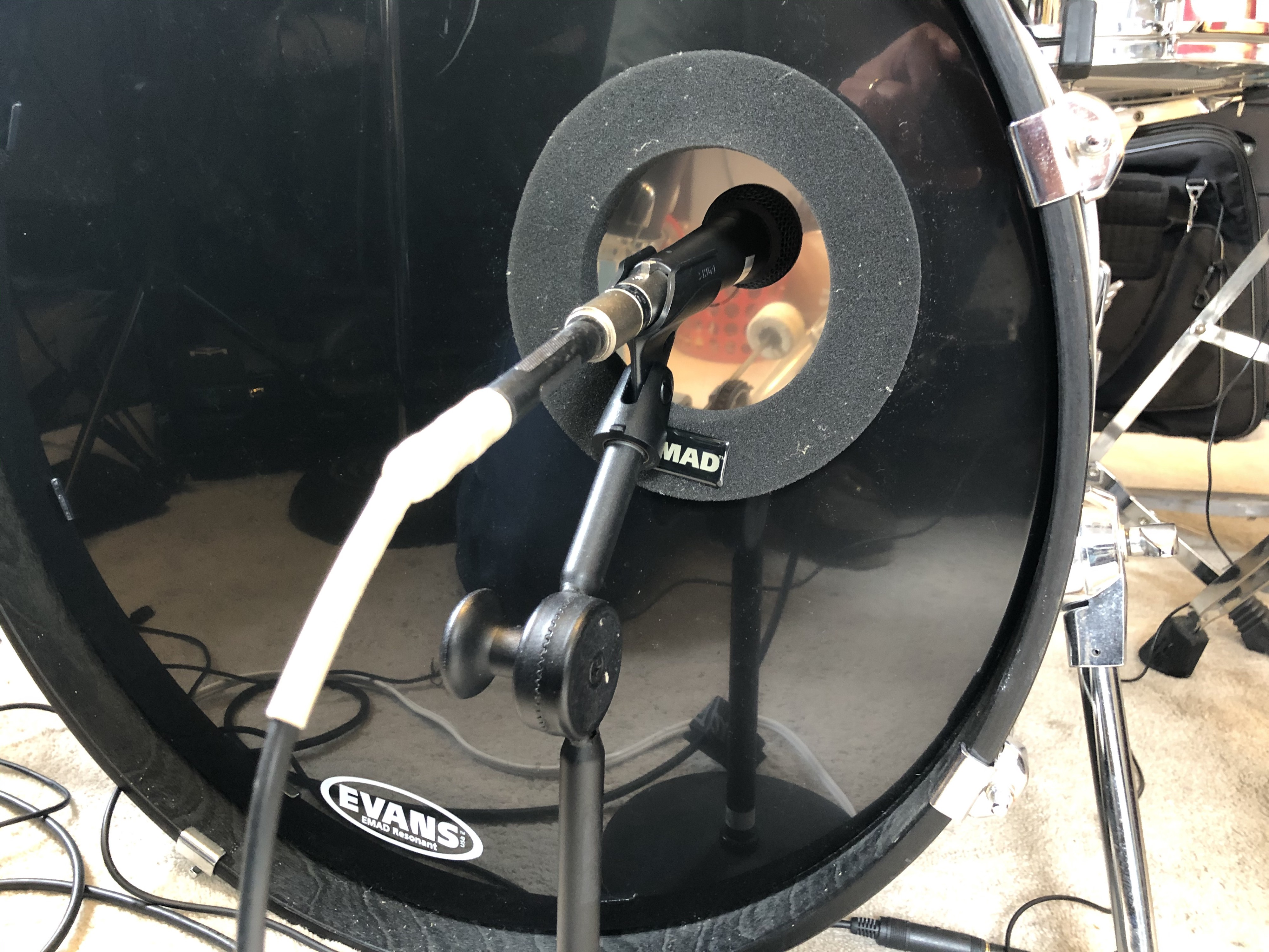 Kick drum with a microphone.