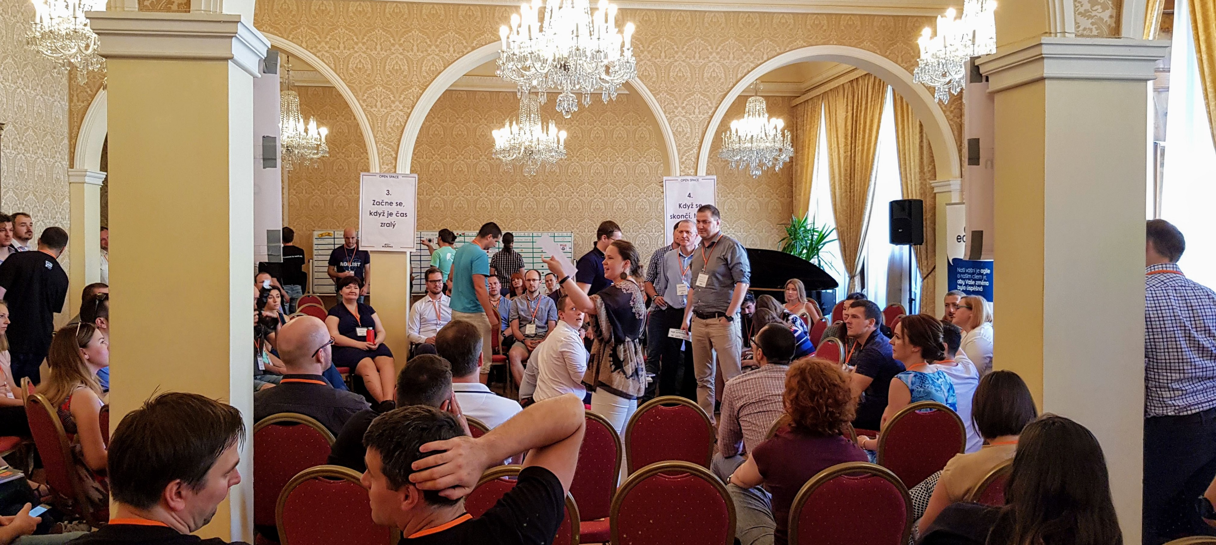 Open Space inAgile uncoference from May 2019, Prague—pitch of topics in progress