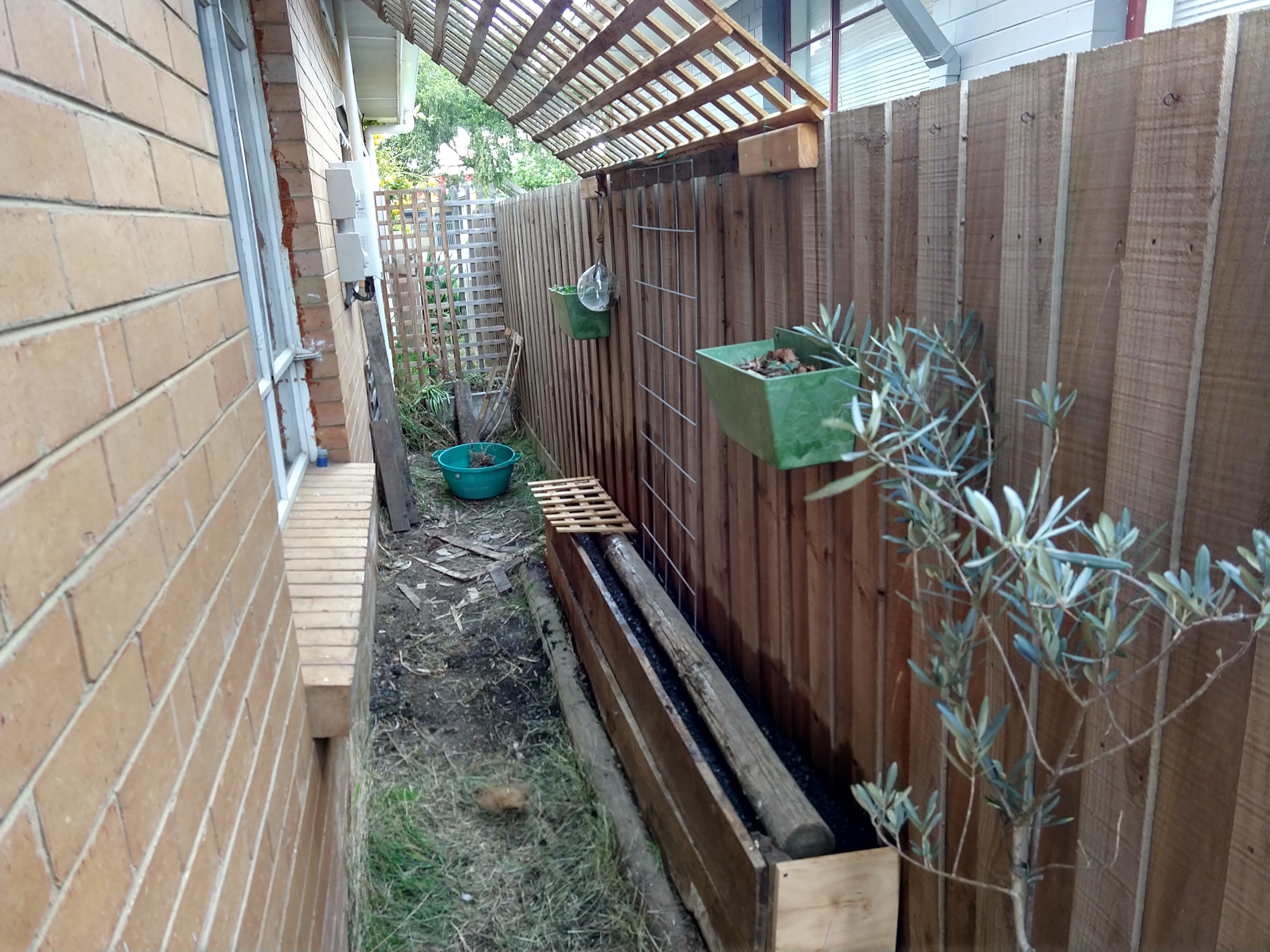 A garden bed built up against a wooden fence down the side of a house