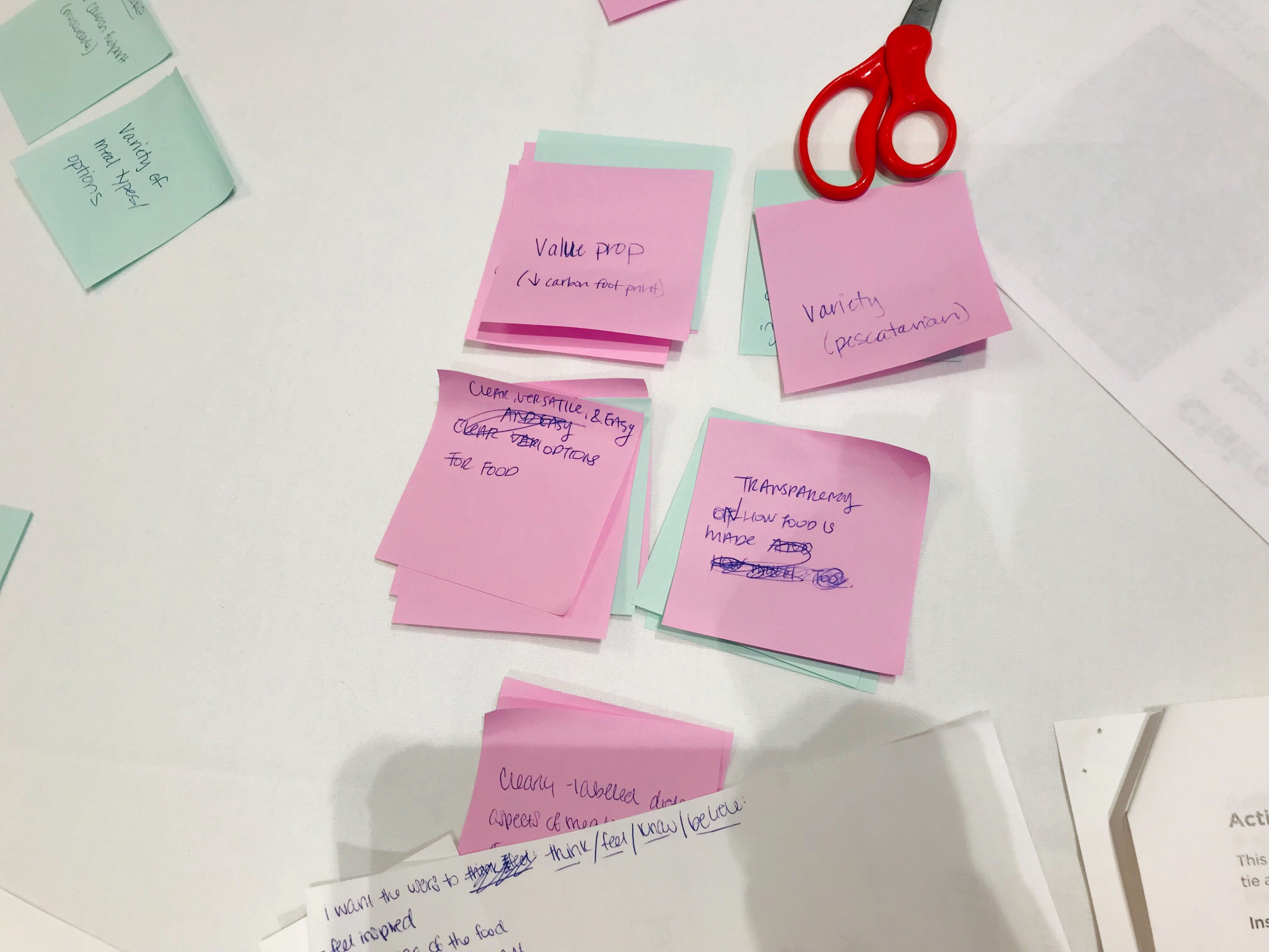 Groups of pink and teal post-it notes are stuck on a table with brainstorm ideas written on them