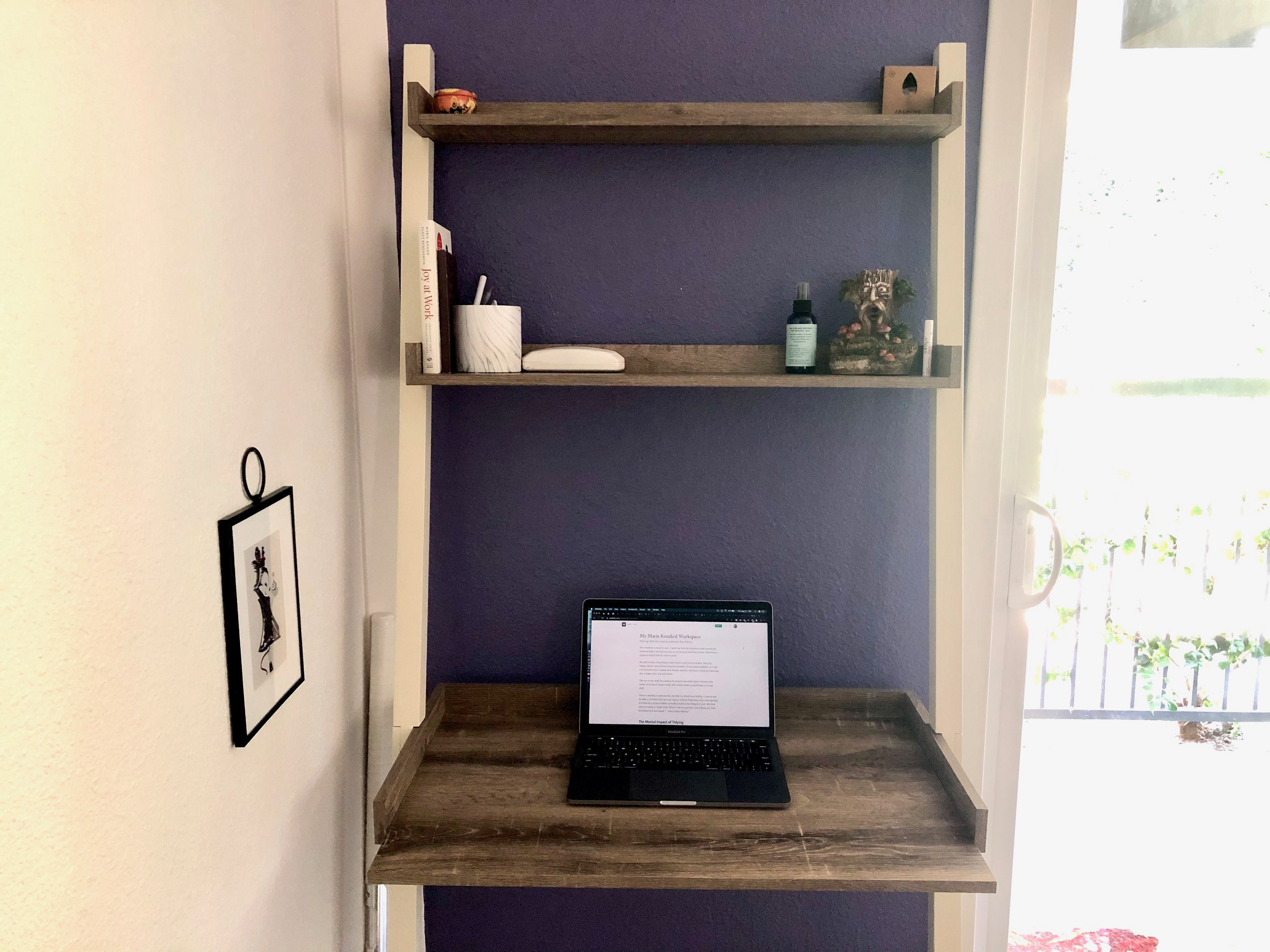 Desk with two shelves, neatly organized