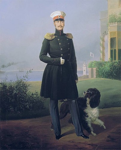 Nicholas I in military uniform standing in the palace garden with his hunting dog beside him.