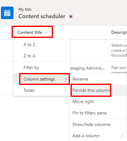 Microsoft Lists Format a column with conditional access