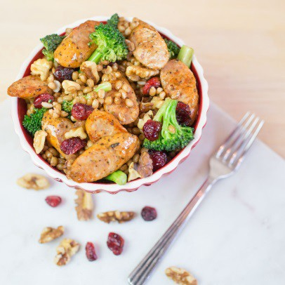 True Story Wheat berry, Toasted Walnut, Cranberry, Broccoli and Chicken Sausage