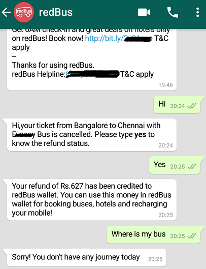 How redBus made use of DialogFlow, Whatsapp — to improve