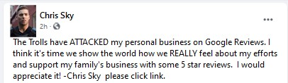 Chris 'Sky' Saccoccia calling for good reviews on his business page.