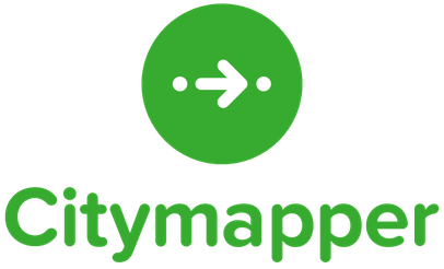 Citymapper logo depicting a white arrow between two white dots in the middle of a green circle.