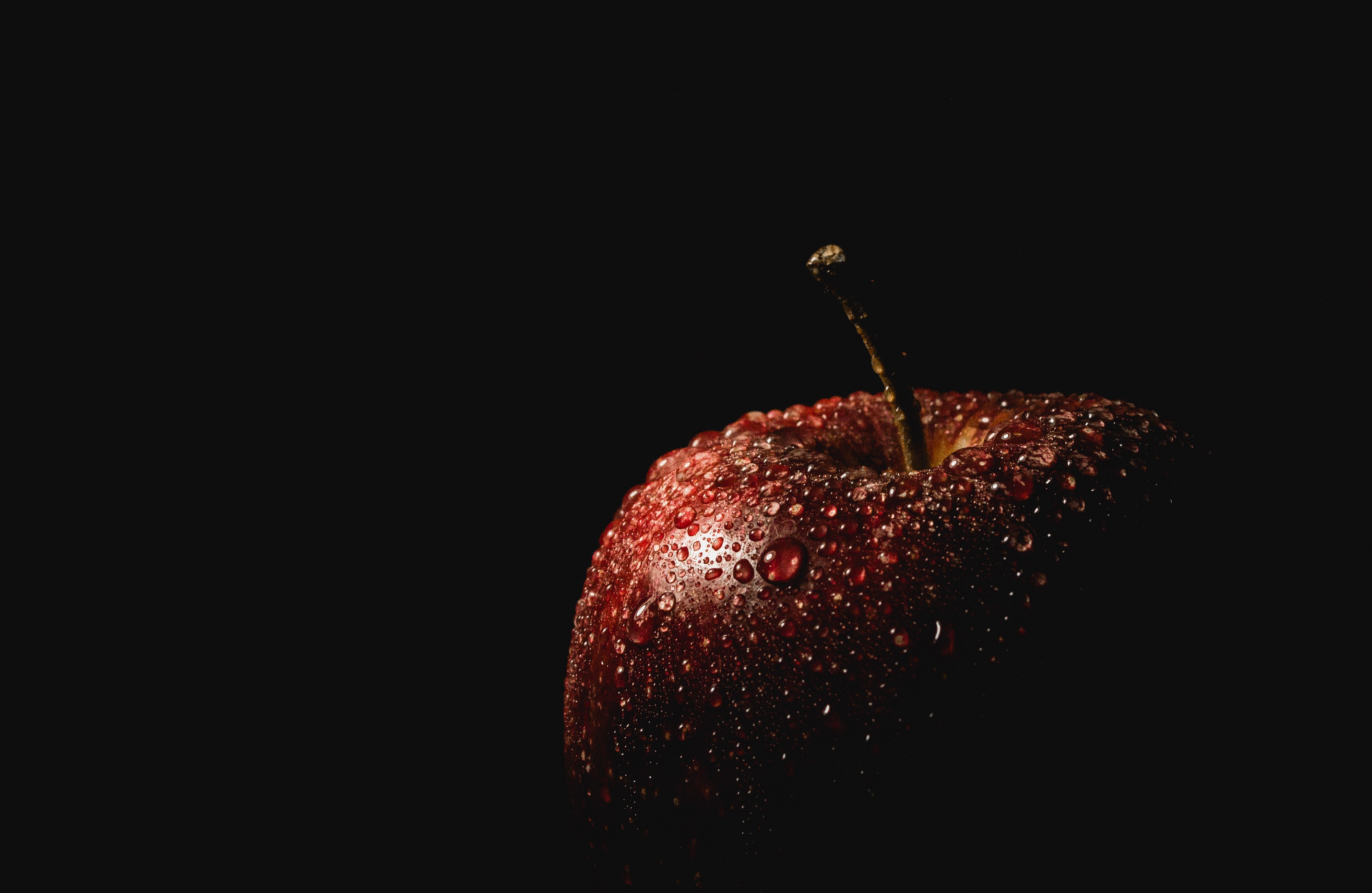 Photo of a red apple with a stem and drops of water on it's skin. Photo by Carlos Alberto Gómez Iñiguez.