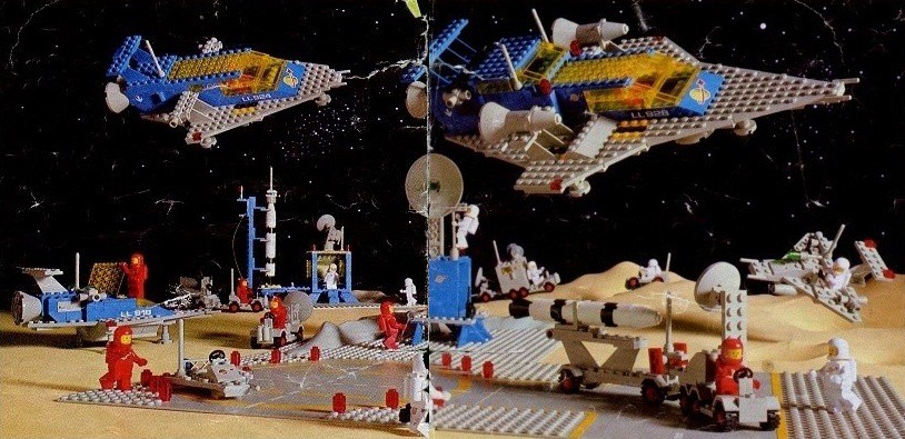 A Lego space base with many astronauts piloting rovers, spaceships, and other vehicles