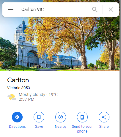 A screencap of the Google Maps entry for Carlton, Victoria. The postcode is marked as 3053.