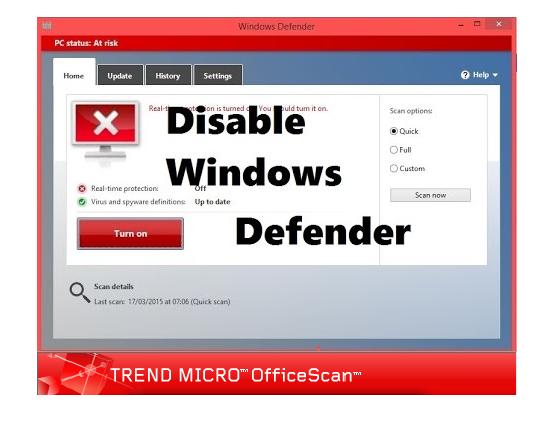 How to Deactivate Windows Defender While Using Trend Micro OfficeScan?