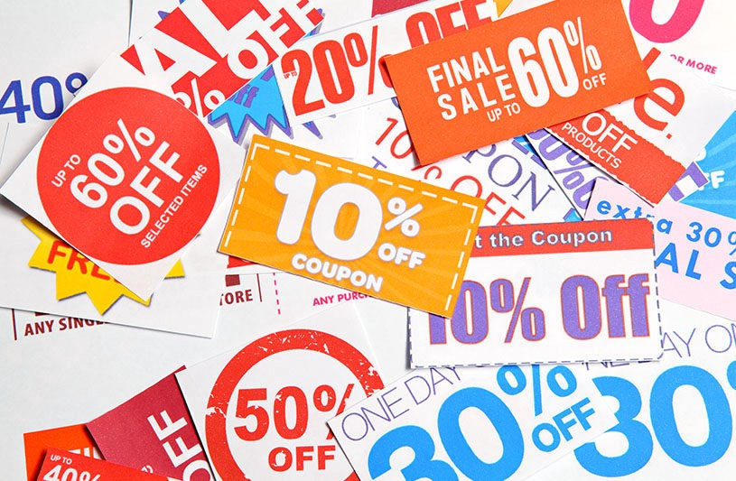 Pile of brightly colored coupons