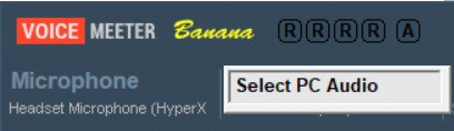 Screenshot of VoiceMeeter Banana showing how to rename Hardware Input 2 to Select PC Audio
