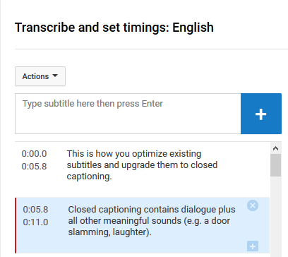 Screenshot showing existing YouTube subtitles within time frames.
