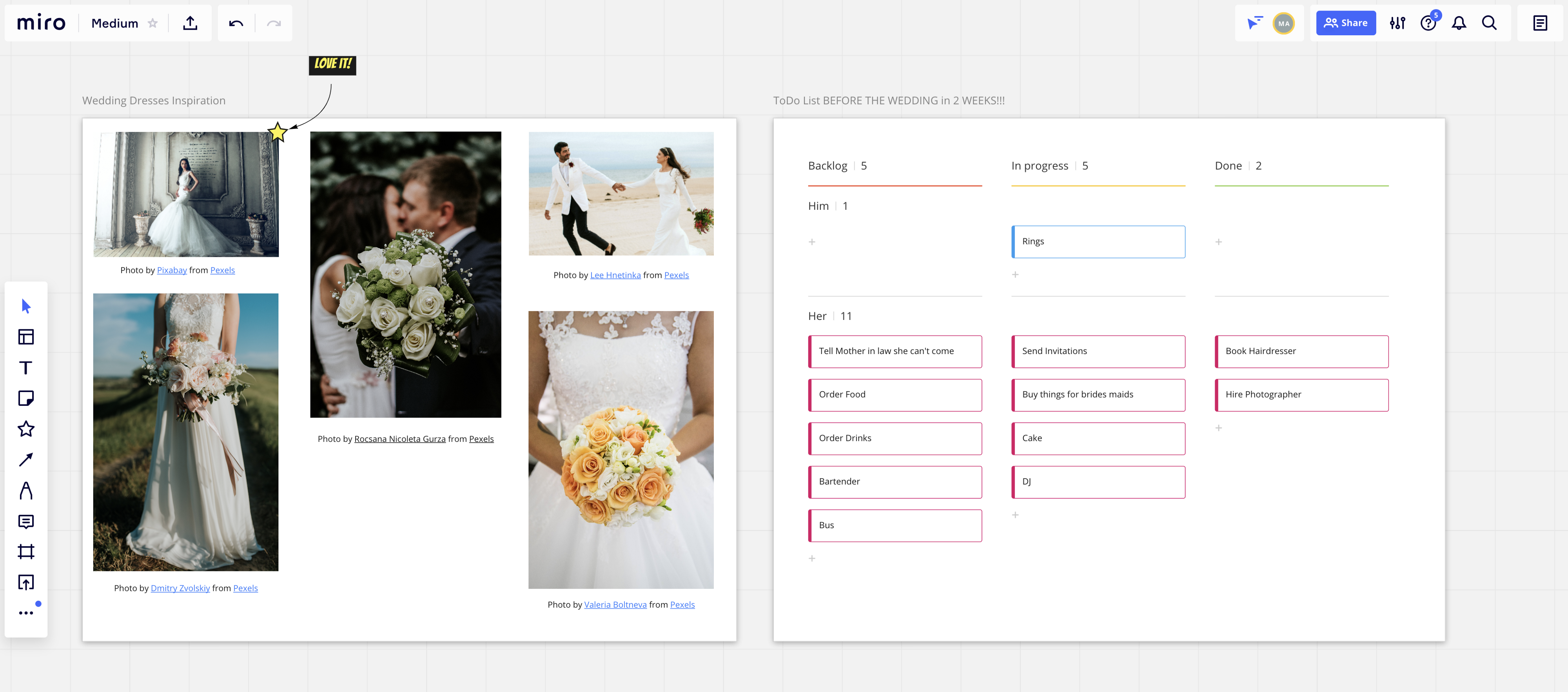 screenshot of a test board containing wedding dresses and a kanban board for planning
