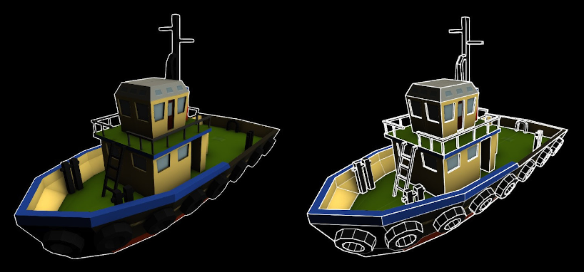 An image of two boats. The boat on the left is outlined along its entire boundary, but the one on the right is outlined in a more clear, illustrative manner to highlight the form of the object.