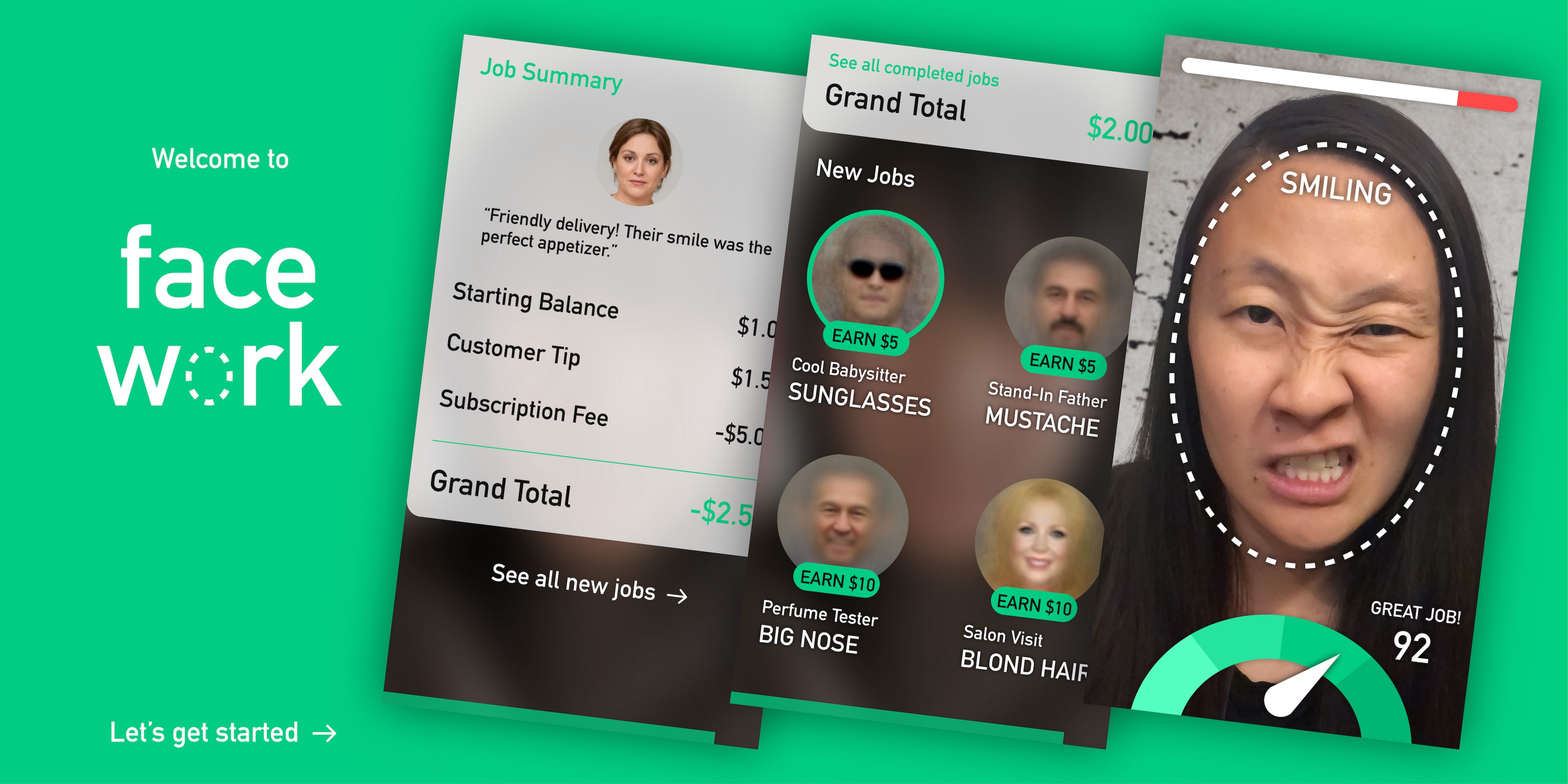 Three screenshots from the game showing customer tips, job selection, and face audition ratings.