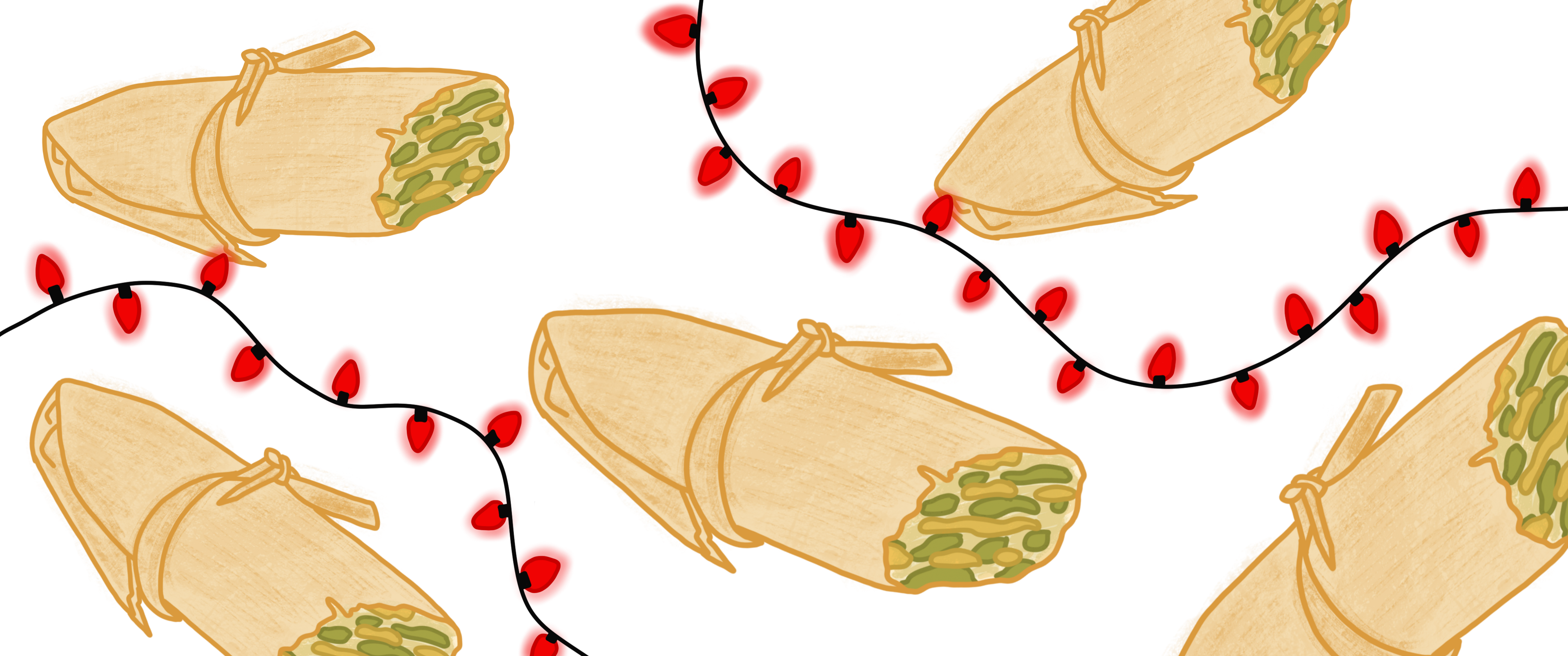Five tamales verdes and two strands of red Christmas lights floating on a white background.