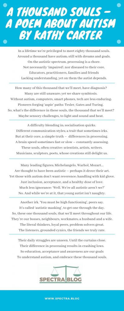 A graphic showing the poem A Thousand Souls by Kathy Carter of spectra.blog.