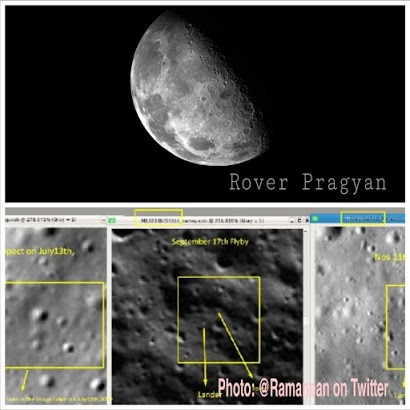The intact Indian rover Pragyan crashed into the moon's chest, evidence found in NASA Pictures