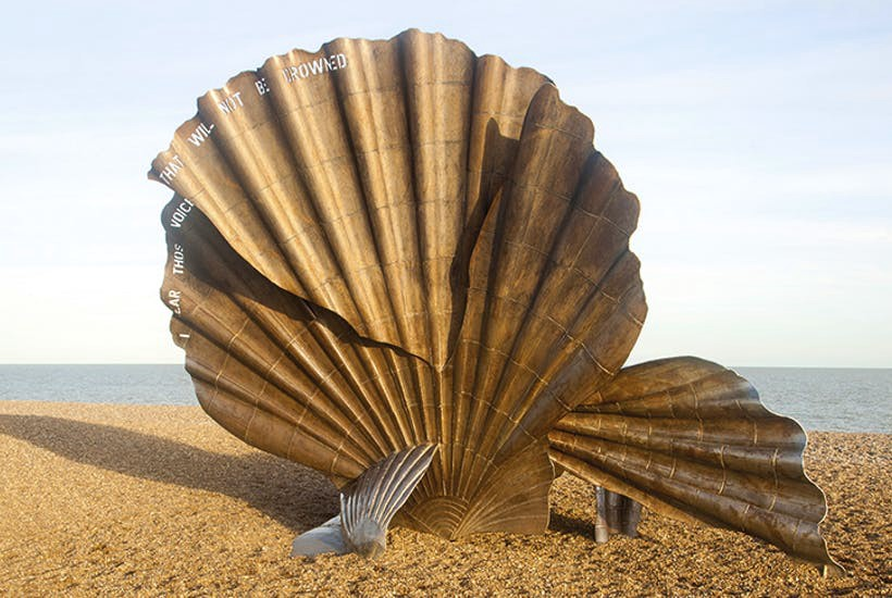 A photograph of a shell sculpture on Aldeburgh beach