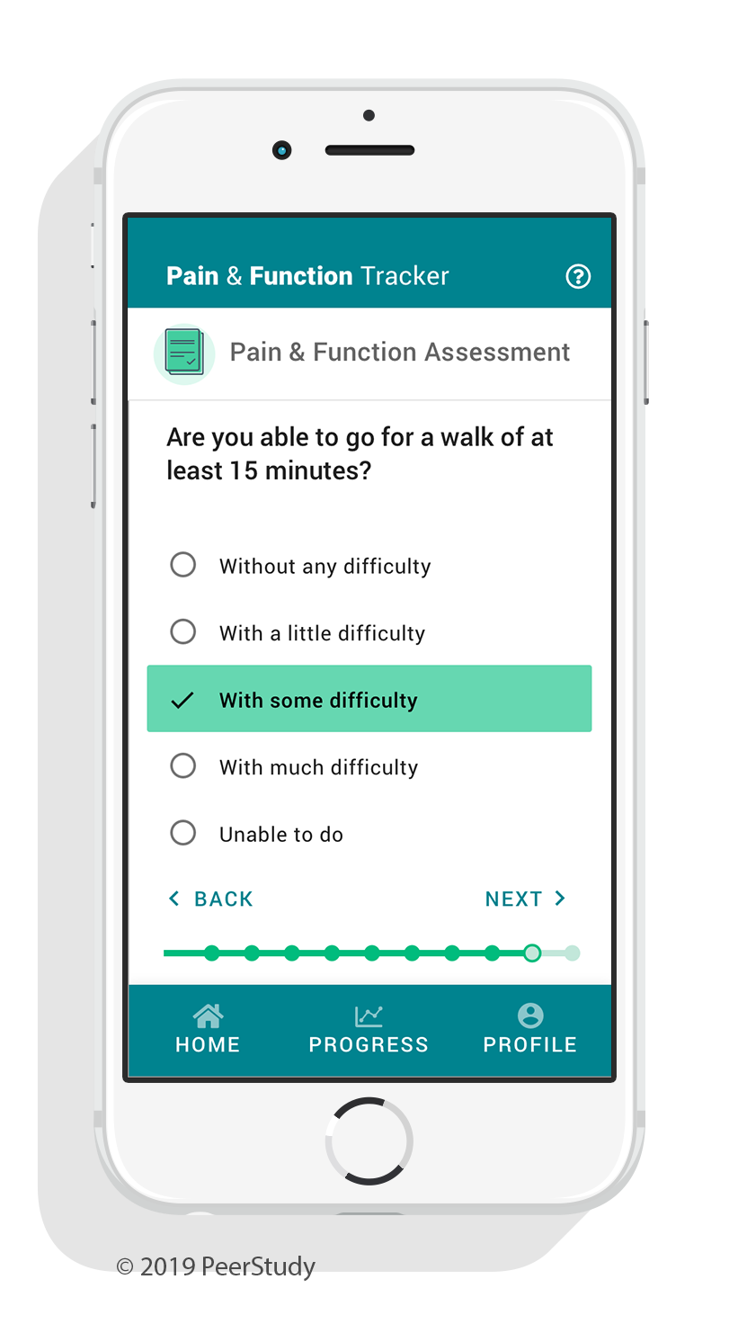App screenshot of a user filling out a pain and physical function survey in the app.