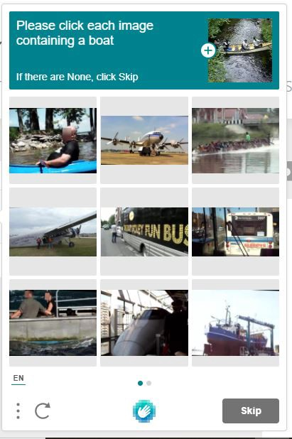 """extremely frustrating """"select all images of a boat"""" captcha"""