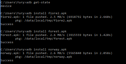 photo of successful install commands sent through ADB to watch