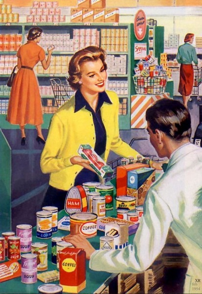 Vintage Photo of Grocery Shopping in the 1950s