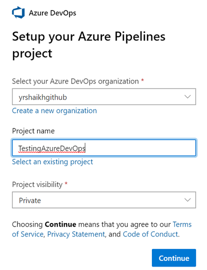 Setting up Azure DevOps.
