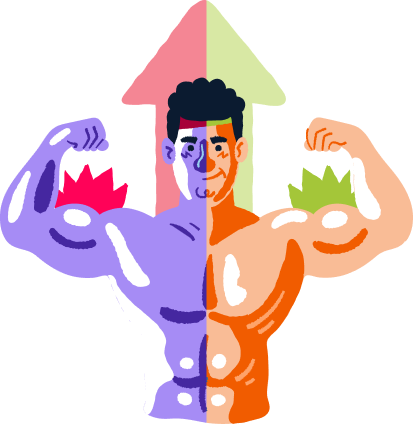 A man, coloured half in Kodular's theme and the other half in AppyBuilder's, showing of his well built body.