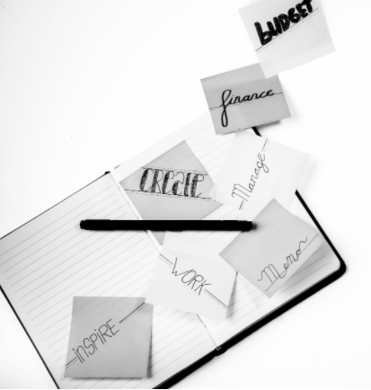 Post-its with key words, such as finance, work, create.