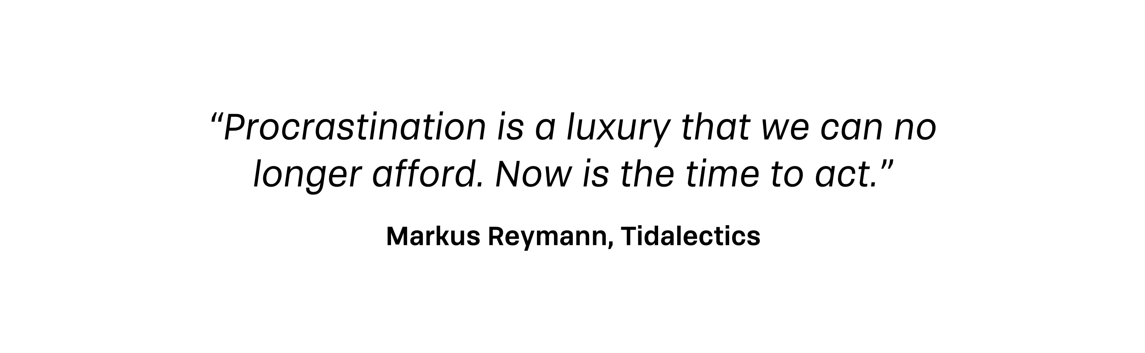 Procrastination is a luxury that we can no longer afford. Now is the time to act.—Markus Reymann, Tidalectics