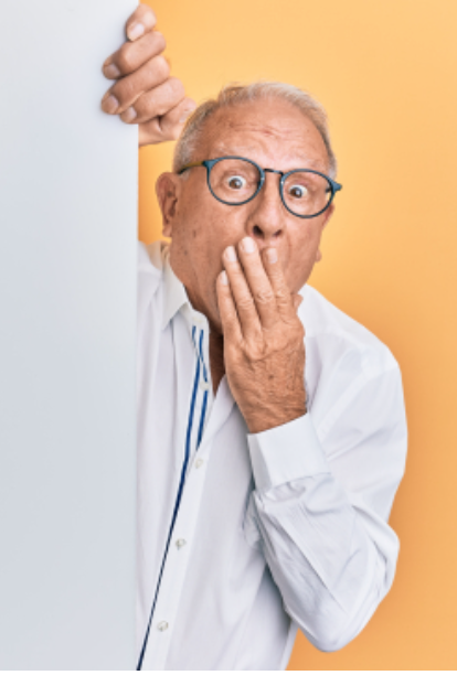 Older man with surprised expression